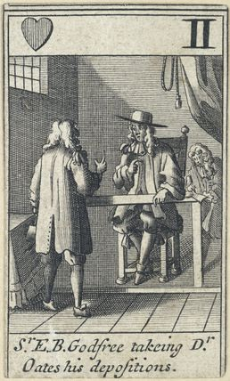 'Sr E.B. Godfree takeing Dr Oates his depositions' (Sir Edmund Berry Godfrey; Titus Oates)