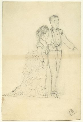 Sketch of an unknown man and woman