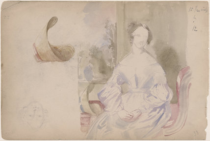 Unknown woman, woman's bonnet and sketch of a woman's face