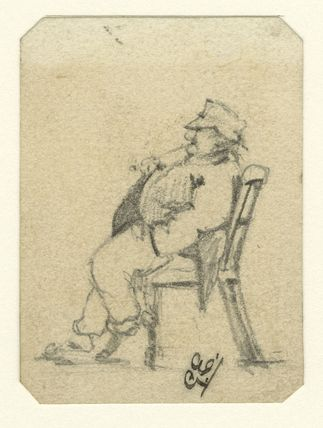 Caricatured sketch of an unknown man in a chair