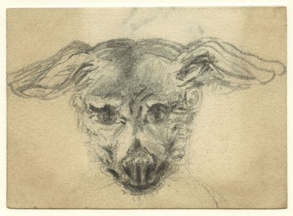 Sketch of the head of a dog