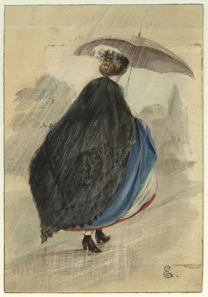 Unknown woman with umbrella