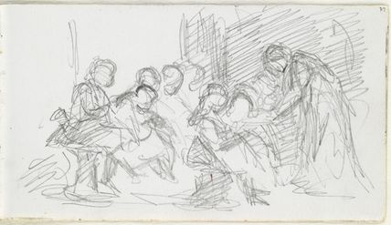 Sketch of an unknown woman and seven children, possibly in a classroom