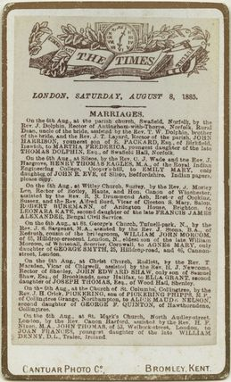'The Times, London, Saturday, August 8, 1885' (marriage announcement for John Thomas and Joan Frances Thomas (née Denny))