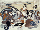 An actor seated surrounded by fashionable women, by Utagawa Kunisada