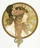 Design for a poster of a Woman's portrait, by Alphonse Mucha