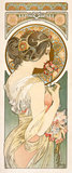 Design for an emblematical female figure holding a bunch of flowers, by Alphonse Mucha