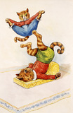 Two cats performing acrobatics, by Louis Wain