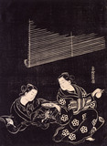 Two courtesans drinking sake, by Masanobu Okumura