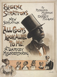 Song sheet cover featuring Eugene Stratton in All Coons Look Alike to Me, by Richard Morton and Ernest Hogan
