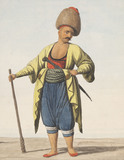 A man armed with a sword and a large club