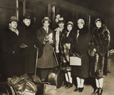 Serge Diaghilev and a group arriving at Liverpool