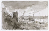 Coast Scene with Vessels on the Beach at Brighton, by John Constable