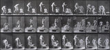 Pouring basin of water over head, photo Eadweard Muybridge