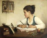 A Girl Writing, by Henriette Browne