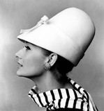 Tania Mallet in white hat with bow