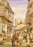 Crowded Street Scene in Lahore, by William Carpenter