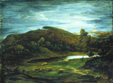 Moonlight scene of a Pond and Sheep, by Thomas Gainsborough