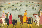 Mian Mukand Dev of Jasrota on a riding picnic, by Nainsukh