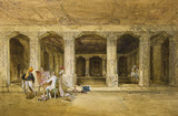 Robert Gill, copying the Ajanta frescoes, by William Simpson