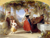 An Italian mother teaching her child the tarantella, by Thomas Uwins