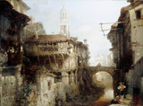 Old Buildings on the Darro, Granada, by David Roberts