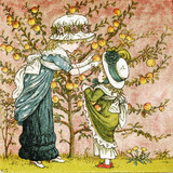 Two girls picking apples, by Kate Greenaway