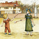 Playing badminton, by Kate Greenaway