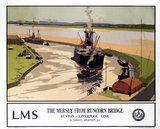 'The Mersey from Runcorn Bridge', LMS poster, 1923-1947.