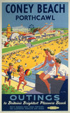 'Coney Beach, Porthcawl', BR poster, 1948-1965.