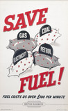 'Save Fuel! Fuel Costs Us over £100 per Minute', BR staff poster, 1956.