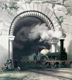 Great Western Railway train emerging from a tunnel, 1840-1845.