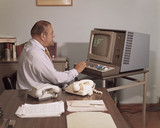 A VDU (Visual Display Unit) being operated at ICL, Stevenage, 1975.