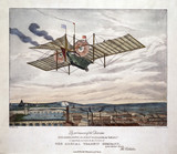 Henson's aerial Steam Carriage flying over a city, 1843.