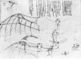 Leonardo's design for fixed-wing aircraft with ornithopter extension, 15th century
