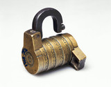 Bras puzzle combination lock, 18th century.