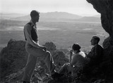 Three ramblers admiring the view, USA, c 1930s.