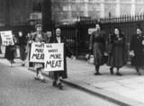 Housewives demonstrating for more meat, 30 January 1951.