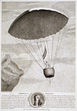 Garnerin's first public parachute descent, Paris, 22 October 1797.