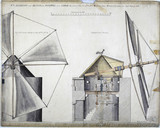 Elevation and section of a windmill near Lisbon, Portugal, September 1840.