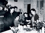 Landlady welcoming her guests at teatime, 29 October 1945.