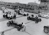 Racing cars at Nurburgring racetrack, 1934.