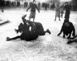 Ice skaters falling over, Wimbledon, London, 27 January 1932.