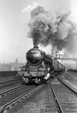 'Flying Scotsman' A3 Clas steam locomotive leaving Leeds station, 1956.