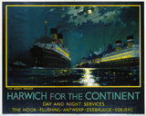 'Harwich for the Continent ', LNER poster, 1934.