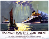 'Harwich for the Continent', LNER poster, 1940.