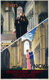 'Then and Now - Fountains Abbey', LNER poster, 1923-1947.