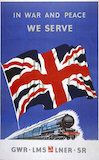 'In War and Peace', GWR/LMS/LNER/SR poster, 1939-1945.