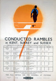 'Conducted Rambles in Kent, Surrey and Susex', BR(SR) poster, 1950.
