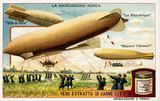 """Three French airships, Liebig trade card, c 1910. """